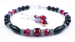 January Garnet Swarovski Crystal Black Birthstone Bracelet and Earring Set