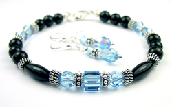 March Aquamarine Swarovski Crystal Black Birthstone Bracelet and Earring Set