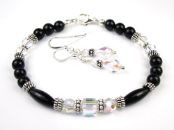 April Crystal Swarovski Crystal Black Birthstone Bracelet and Earring Set