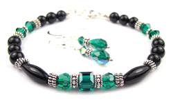 May Emerald Swarovski Crystal Black Birthstone Bracelet and Earring Set