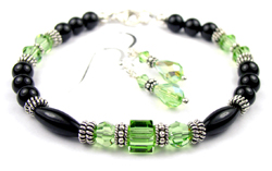 August Peridot Swarovski Crystal Black Birthstone Bracelet and Earring Set
