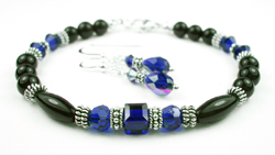 September Sapphire Swarovski Crystal Black Birthstone Bracelet and Earring Set