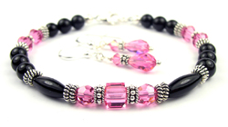 October Pink Tourmaline Swarovski Crystal Black Birthstone Bracelet and Earring Set