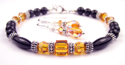 November Golden Topaz Swarovski Crystal Black Birthstone Bracelet and Earring Set