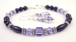 December Tanzanite Swarovski Crystal Black Birthstone Bracelet and Earring Set