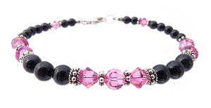 October Pink Tourmaline Swarovski Crystal Black Pearl Crystal Beaded Birthstone Bracelet