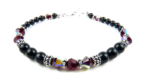 January Garnet Swarovski Crystal Black Pearl Crystal Beaded Birthstone Bracelet