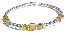 Citrine Swarovski Crystal Sterling Silver Beaded Birthstone Bracelet