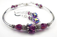 February Amethyst Swarovski Crystal Birthstone Bangle Bracelet