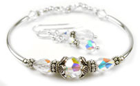 April Crystal Swarovski Crystal Birthstone Bangle Bracelet
