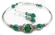 March Emerald Swarovski Crystal Birthstone Bangle Bracelet