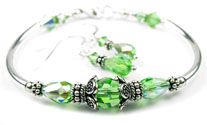 August Peridot Swarovski Crystal Birthstone Bangle Bracelet