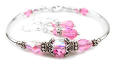 October Pink Tourmaline Swarovski Crystal Birthstone Bangle Bracelet