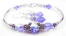 December Tanzanite Swarovski Crystal Birthstone Bangle Bracelet