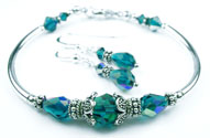 December Blue Zircon Swarovski Crystal Birthstone Bangle Bracelet