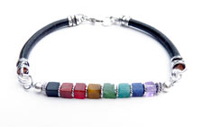 Black Leather Chakra Cube Bracelet