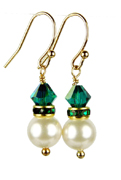 May - Emerald Gold Birthstone Earrings