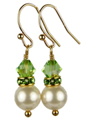 August - Peridot Gold Birthstone Earrings