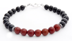 Mens Root Chakra Bracelet with Red Jasper and Black Onyx