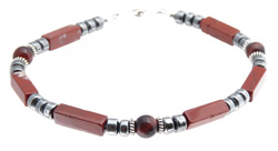 Mens Root Chakra Bracelet with Red Jasper and Red Tiger Eye