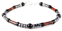 Mens Root Chakra Bracelet with Red Tiger Eye and Black Onyx