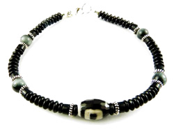 Mens Root Chakra Bracelet with Genuine Eagles Eye, Black Agate, and Black Onyx