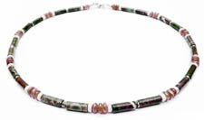 Ryolite and Rhodochrosite Chakra Mens Beaded Necklace