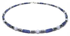 Blue Sodalite and Blue Lace Agate Courage to Change Mens Beaded Necklace